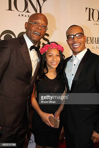Samuel L Jackson Deyjah Imani Harris and TI attend the American Theatre Wing's 68th Annual Tony Awards at Radio City Music Hall on June 8 2014 in New...