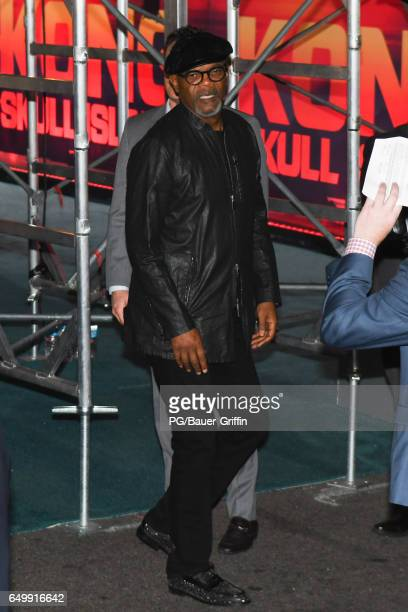 Samuel L Jackson is seen arriving at the premiere of Kong Skull Island on March 08 2017 in Los Angeles California