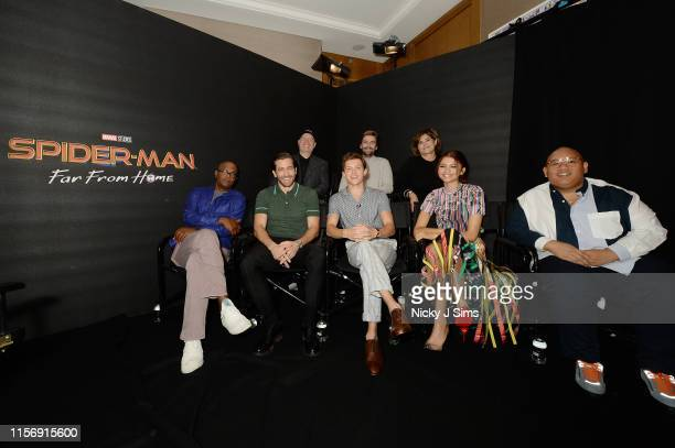 Samuel L Jackson Jake Gyllenhaal Tom Holland Zendaya and Jacob Batalon Kevin Feige Jon Watts and Amy Pascal attend the SpiderMan Far From Home...