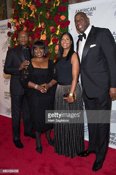 Samuel L Jackson LaTanya Richardson Cookie Johnson and Magic Johnson attend the 2015 American Theatre Wing's Gala at The Plaza Hotel on September 28...