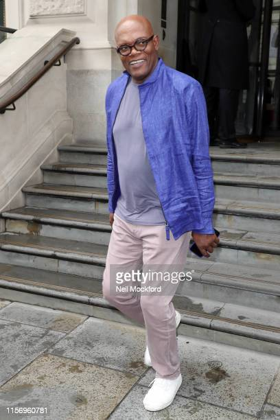 Samuel L. Jackson leaving a Spiderman press day at the Corinthia hotel on June 19, 2019 in London, England.