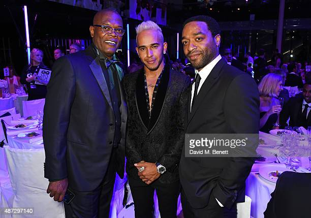 Samuel L Jackson Lewis Hamilton and Chiwetel Ejiofor attend the GQ Men Of The Year Awards at The Royal Opera House on September 8 2015 in London...