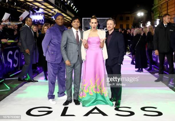Samuel L Jackson M Night Shyamalan Sarah Paulson and James McAvoy attend the UK Premiere of M Night Shyamalan's allnew comicbook thriller Glass at...