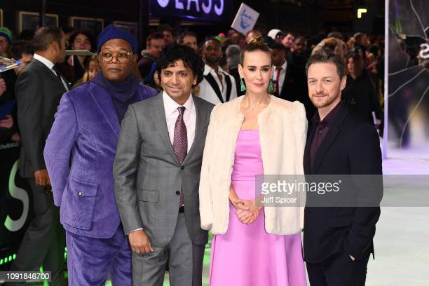 Samuel L Jackson M Night Shyamalan Sarah Paulson and James McAvoy attend the UK Premiere of Glass at The Curzon Mayfair on January 09 2019 in London...