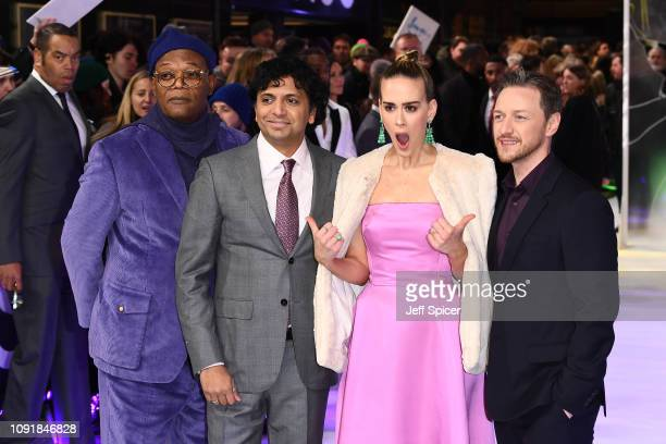 """Samuel L. Jackson, M. Night Shyamalan, Sarah Paulson and James McAvoy attend the UK Premiere of """"Glass"""" at The Curzon Mayfair on January 09, 2019 in..."""