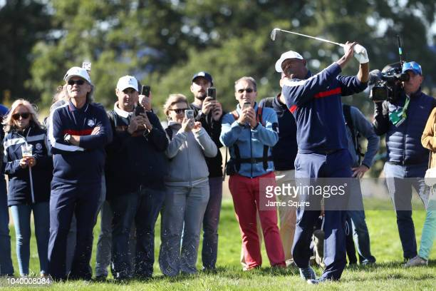 Samuel L Jackson of Team USA plays a shot during the celebrity challenge match ahead of the 2018 Ryder Cup at Le Golf National on September 25 2018...