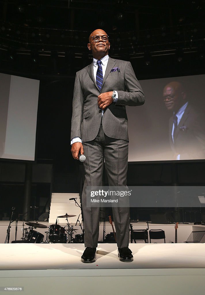 Samuel L. Jackson on the catwalk during One For The Boys Fashion Ball hosted by Samuel L. Jackson, uniting men against cancer to kick start London Collections Men at The Roundhouse on June 12, 2015 in London, England.
