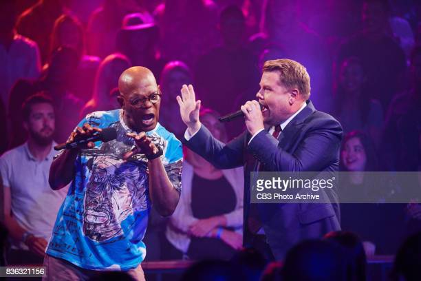 Samuel L Jackson performs Drop The Mic with James Corden during The Late Late Show with James Corden Monday July 24 2017 On The CBS Television Network