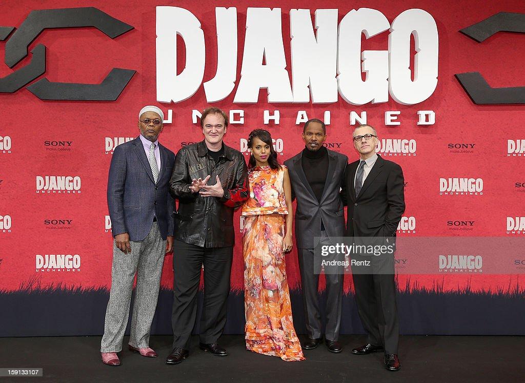 Samuel L. Jackson, Quentin Tarantino, Kerry Washington, Jamie Foxx and Christoph Waltz attend 'Django Unchained' Berlin Premiere at Cinestar Potsdamer Platz on January 8, 2013 in Berlin, Germany.