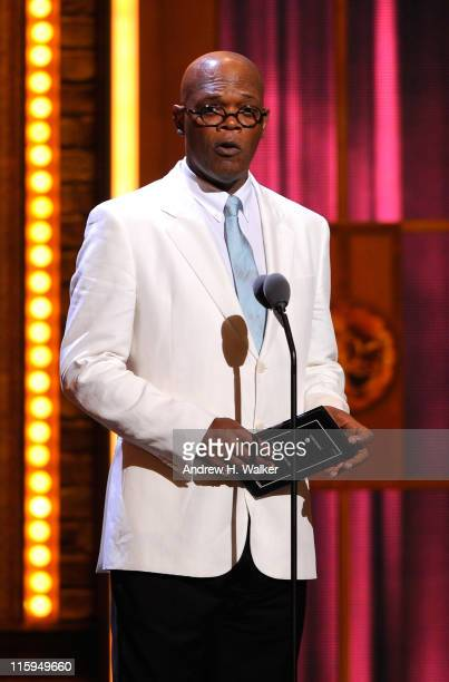 Samuel L Jackson speaks on stage during the 65th Annual Tony Awards at the Beacon Theatre on June 12 2011 in New York City