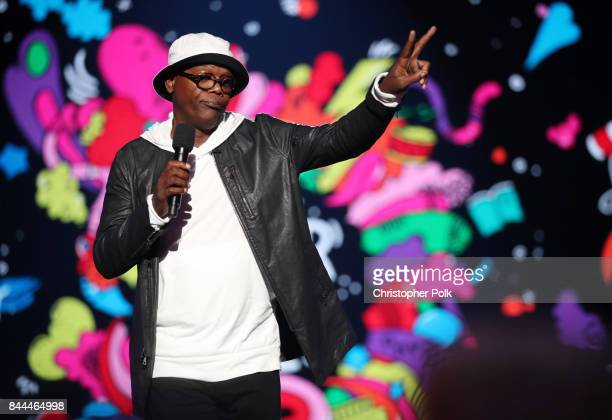 Samuel L Jackson speaks onstage during the XQ Super School Live presented by EIF at Barker Hangar on September 8 2017 in Santa California