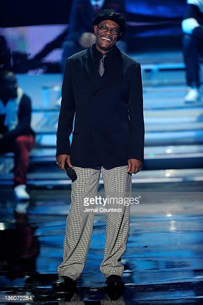 Samuel L Jackson speaks onstage during VH1 Divas Celebrates Soul at Hammerstein Ballroom on December 18 2011 in New York City