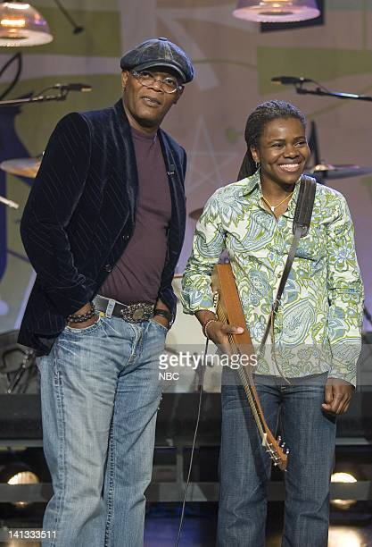 Samuel L. Jackson, Tracy Chapman -- Air Date -- Episode 3650 -- Pictured: Actor Samuel L. Jackson and musical guest Tracy Chapman on November 5, 2008...