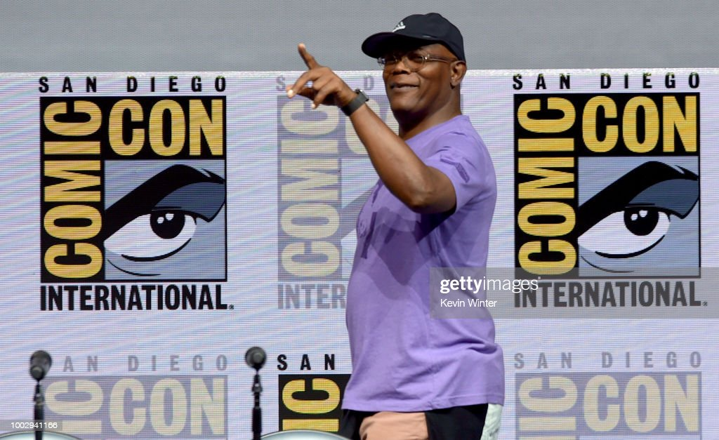 Samuel L. Jackson walks onstage at Universal Pictures' 'Glass' and 'Halloween' panels during Comic-Con International 2018 at San Diego Convention Center on July 20, 2018 in San Diego, California.
