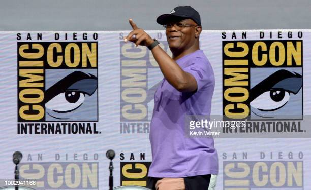 Samuel L Jackson walks onstage at Universal Pictures' Glass and Halloween panels during ComicCon International 2018 at San Diego Convention Center on...