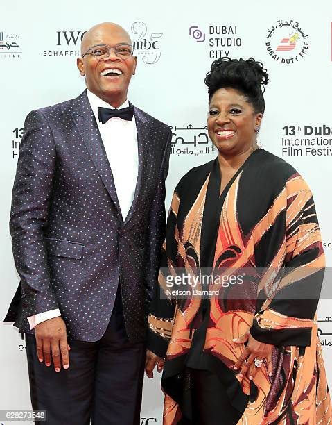 Samuel L Jackson with his wife LaTanya Richardson attend the Opening Night Gala during day one of the 13th annual Dubai International Film Festival...