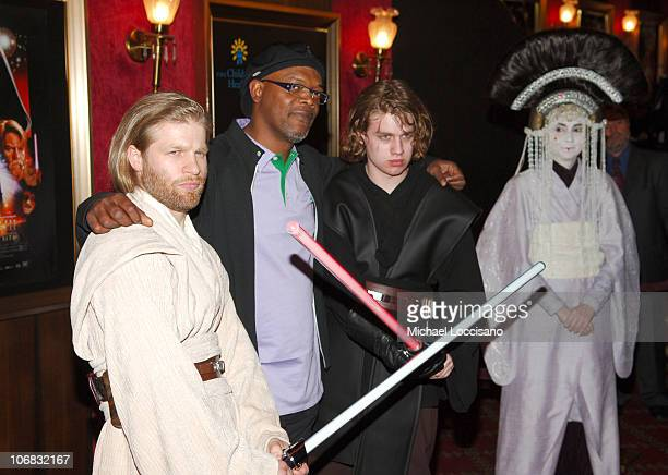 """Samuel L. Jackson with Jedi's and Queen Amidala during """"Star Wars: Episode III, Revenge Of The Sith"""" New York City Benefit Premiere - Red Carpet at..."""