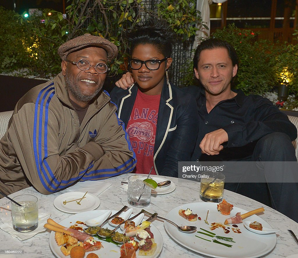 Samuel L. Jackson, Zoe Jackson and Clifton Collins Jr. attend the Grand Opening of RivaBella Ristorante on January 31, 2013 in West Hollywood, California.