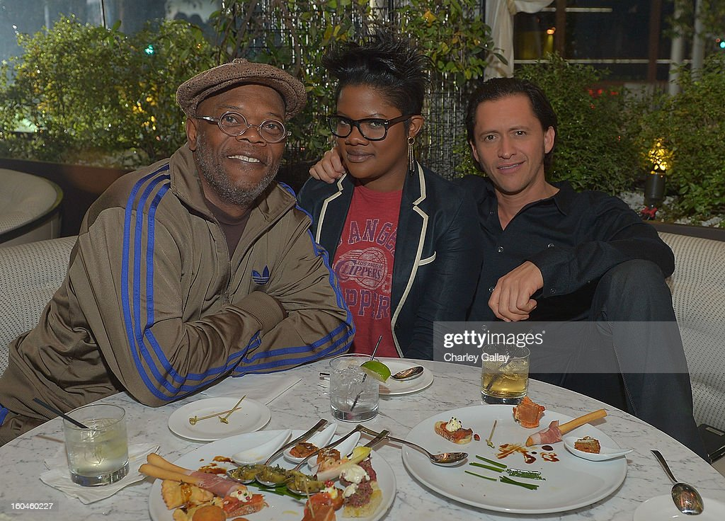 Samuel L. Jackson, Zoe Jackson and Clifton Collins, Jr. attend the Grand Opening of RivaBella Ristorante on January 31, 2013 in West Hollywood, California.