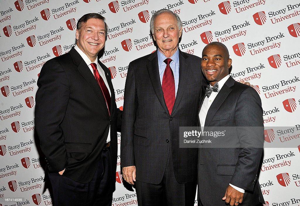 Samuel L. Stanley Jr(L), Alan Alda(C) attend the 2013 Stars Of Stony Brook Gala at Pier 60 on April 24, 2013 in New York City.
