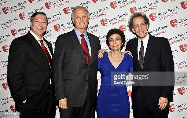 Samuel L Stanley Jr Alan Alda Elizabeth Bass and Howard Schneider attend the 2013 Stars Of Stony Brook Gala at Pier 60 on April 24 2013 in New York...