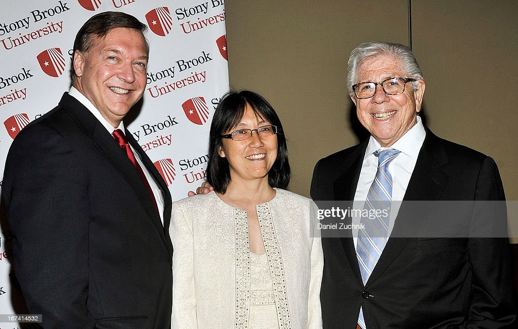 Samuel L. Stanley Jr(L) and Carl Bernstein(R) attend the 2013 Stars Of Stony Brook Gala at Pier 60 on April 24, 2013 in New York City.