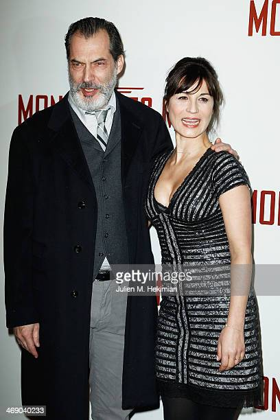 Samuel Labarthe and his wife Helene Medigue attend 'Monuments Men' Paris premiere at Cinema UGC Normandie on February 12 2014 in Paris France