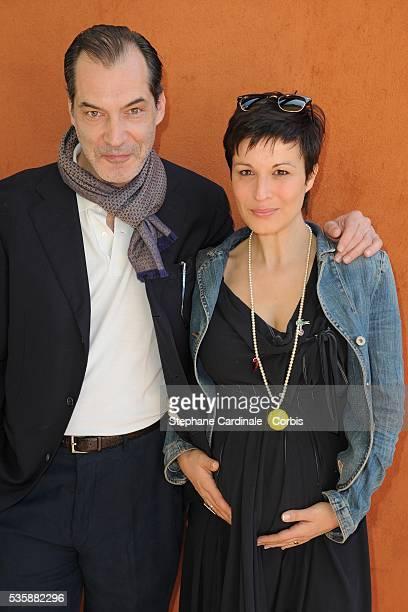 Samuel Labarthe with his wife Helene Medigue at Roland Garros Village