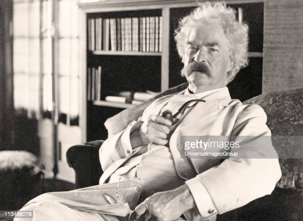 Samuel Langhorne Clemens 1835 to 1910 known by pen name Mark Twain American humorist satirist writer and lecturer From photograph taken in his old age