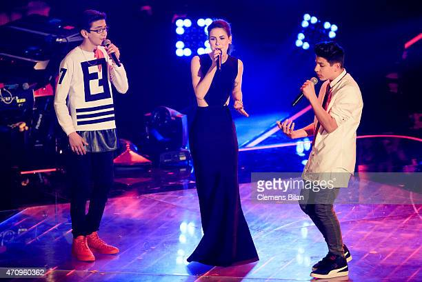 Samuel Lena MeyerLandrut and NoahLevi perform during the 'The Voice Kids' Finals on April 24 2015 in Berlin Germany