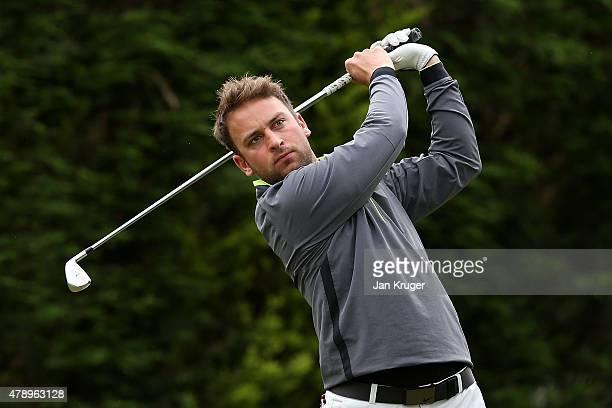 Samuel Mellor of Village Urban Resort Blackpool tees off during the Galvin Green PGA Assistants' Championship North Qualifier at Penwortham Golf Club...