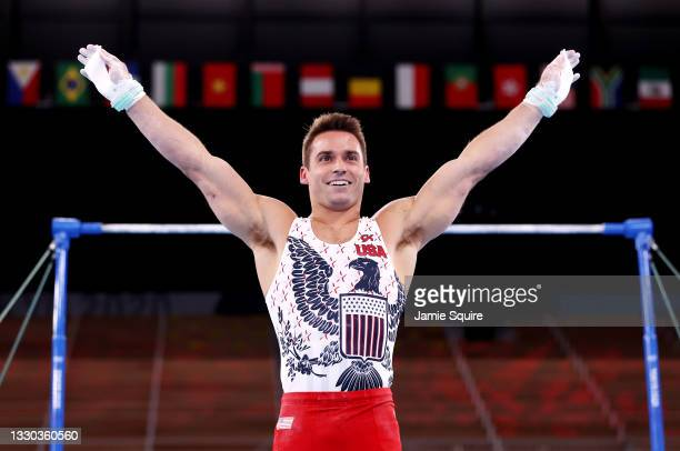 Samuel Mikulak of Team United States competes on the horizontal bar during Men's Qualification on day one of the Tokyo 2020 Olympic Games at Ariake...