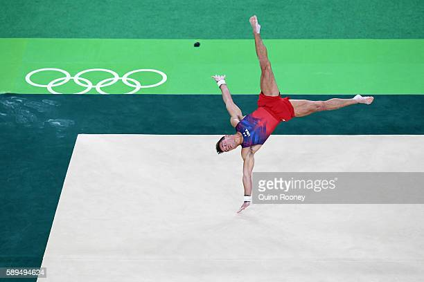 Samuel Mikulak of the United States competes in the Men's Floor Exercise Final on Day 9 of the Rio 2016 Olympic Games at the Rio Olympic Arena on...
