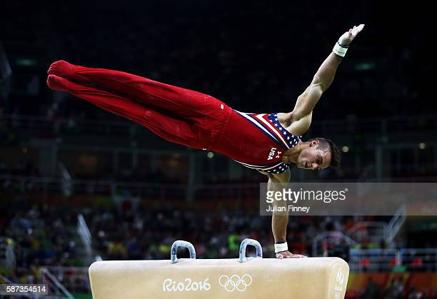 Samuel Mikulak of the United States competes on the pommel horse during the men's team final on Day 3 of the Rio 2016 Olympic Games at the Rio...