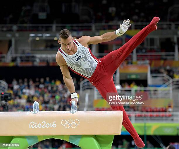 Samuel Mikulak of the United States on the pommel horse during the Men's Individual AllAround on Day 5 of the Rio 2016 Olympic Games at the Rio...