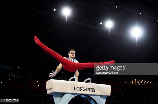 Samuel Mikulak of USA competes on Pommel Horse during the Men's Team Final on Day 6 of FIG Artistic Gymnastics World Championships on October 09,...
