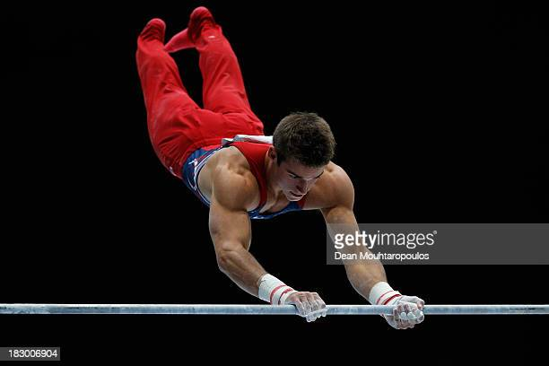 Samuel Mikulak of USA competes on the High Bar during the Mens AllAround Final on Day Four of the Artistic Gymnastics World Championships Belgium...