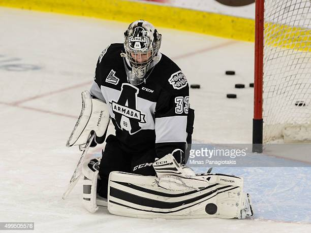 Samuel Montembeault of the Blainville-Boisbriand Armada makes a save during the warmup prior to the QMJHL game against the Moncton Wildcats at the...