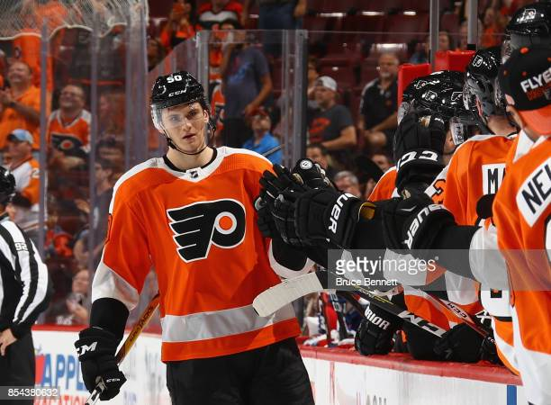 Samuel Morin of the Philadelphia Flyers celebrates his goal at 1836 of the first period against the New York Rangers during a preseason game at the...