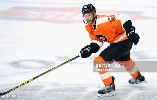 Samuel Morin of the Philadelphia Flyers plays in the game against the Tampa Bay Lightning at Wells Fargo Center on April 7 2016 in Philadelphia...