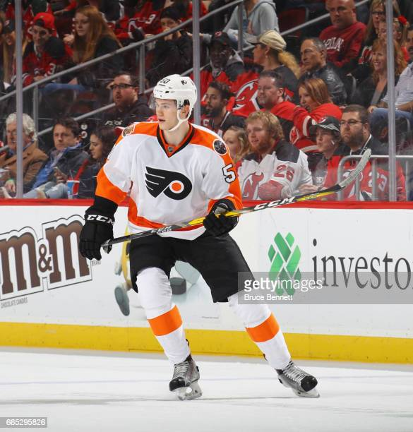Samuel Morin of the Philadelphia Flyers skates in his first NHL game against the New Jersey Devils at the Prudential Center on April 4 2017 in Newark...