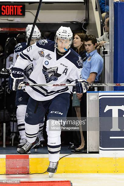 Samuel Morin of the Rimouski Oceanic takes to the ice prior to Game Two during the 2015 Memorial Cup against the Oshawa Generals at the Pepsi...