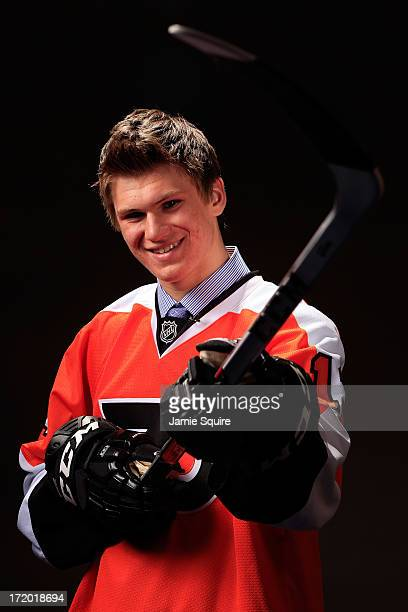 Samuel Morin poses for a portrait after being selected number eleven overall in the first round by the Philadelphia Flyer during the 2013 NHL Draft...