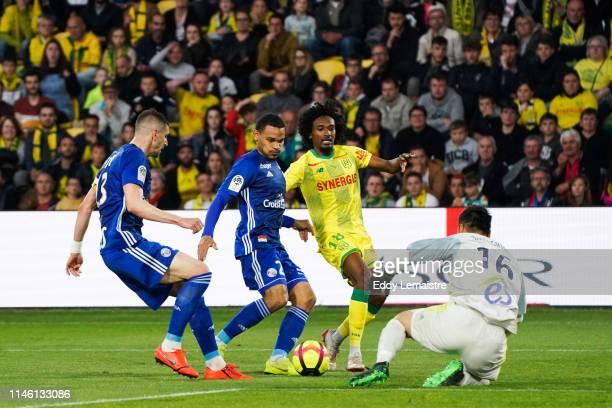 Samuel Moutoussamy of Nantes and Eiji Kawashima of Strasbourg during the Ligue 1 match between Nantes and Strasbourg on May 24 2019 in Nantes France