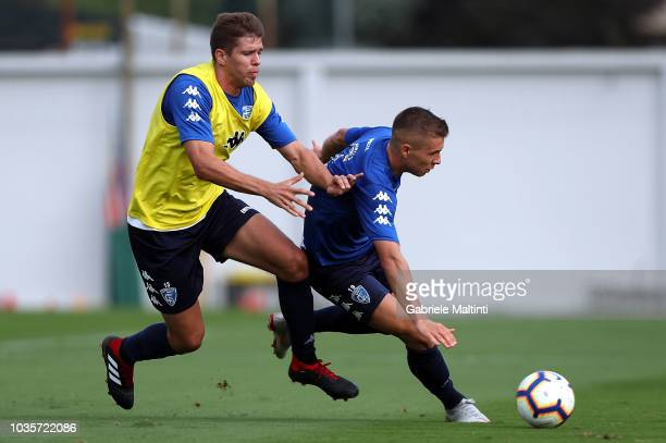 Samuel Mraz and Michal Marcjanik of Empoli FC in action during training session on September 18 2018 in Empoli Italy