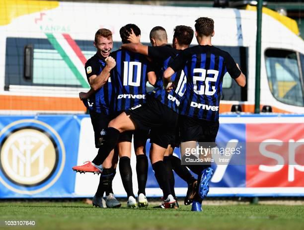 Samuel Mulattieri of FC Internazionale celebrates with teammates after scoring the opening goal during Fc Internazionale U19 V Cagliari U19 match at...