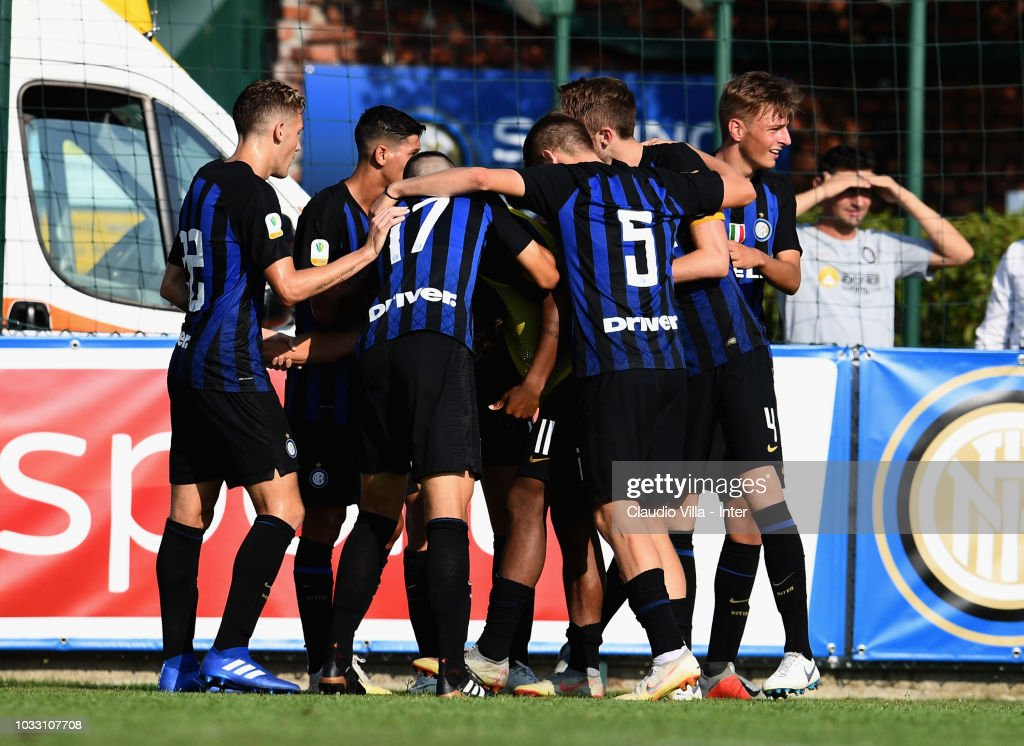 Samuel Mulattieri of FC Internazionale #10 celebrates with teammates after scoring the opening goal during Fc Internazionale U19 V Cagliari U19 match at Stadio Breda on September 14, 2018 in Sesto San Giovanni, Italy.