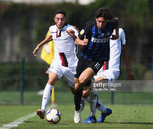 Samuel Mulattieri of FC Internazionale in action during Fc Internazionale U19 V Cagliari U19 match at Stadio Breda on September 14 2018 in Sesto San...