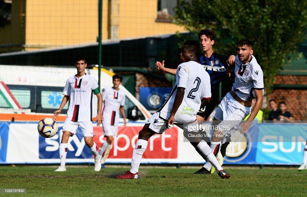 Samuel Mulattieri of FC Internazionale #10 scores the opening goal during Fc Internazionale U19 V Cagliari U19 match at Stadio Breda on September 14, 2018 in Sesto San Giovanni, Italy.