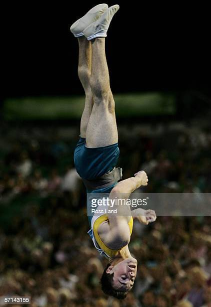 Samuel Offord of Australia competes in the Men's Vault Final in the artistic gymnastics at the Rod Laver Arena during day six of the Melbourne 2006...
